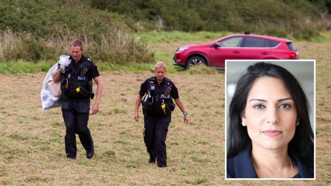 The attack on a police officer in Newquay has been condemned by Home Secretary Priti Patel. Main image: SWNS. Inset: UK Department for International Development