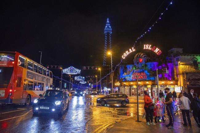 People out in Blackpool during the illuminations