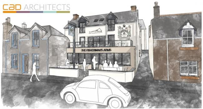 Sketch showing what the Fisherman\'s Arms, Newlyn could look like once it is refurbished following a fire (Image: CAD Architects)