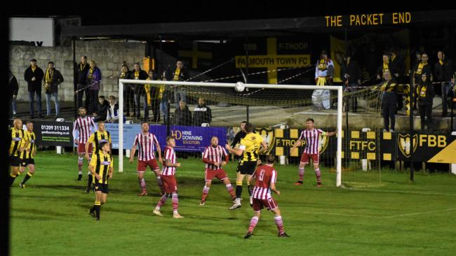 James Ward heads over the crossbar early on for Town during their 2-1 win on Wednesday night