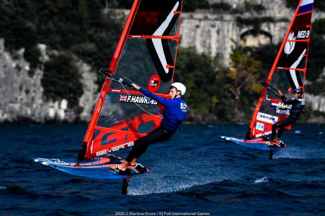 Finn windsurfing at Lake Garda. Picture: Martina Orsini/IQFoil International Games