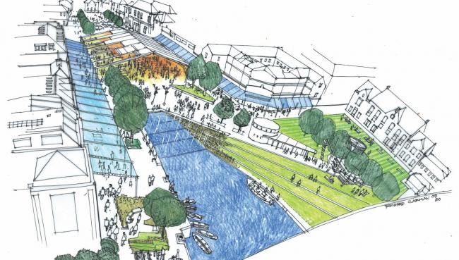 An illustration of how Truro's Lemon Quay could look, to include a covered roof area