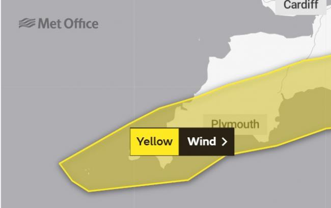 The Met Office has issued a warning for high winds across Cornwall