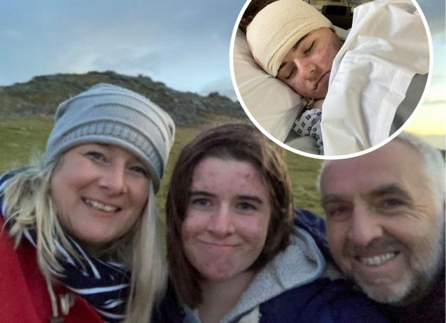 Imogen Golder with her parents Karen and Murray and, inset, in hospital. Picture: Golder family/SWNS