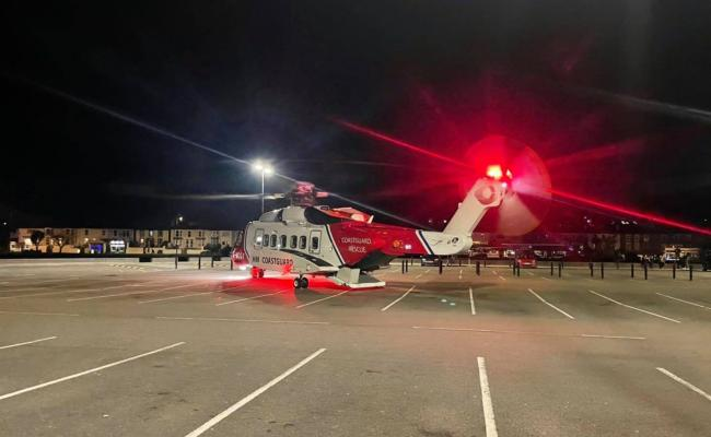 The coastguard helicopter landed in Hayle on Thursday night. Picture: Portreath Coastguard Rescue Service