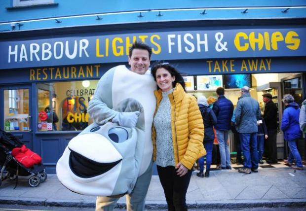 Falmouth Packet: Harbour Lights owners Pete and Sue Fraser, with Colin the Cod