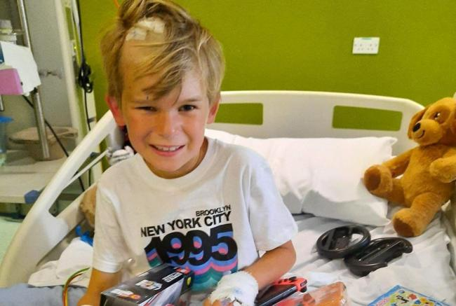 Elliott in hospital earlier this year. Picture: Furse family/SWNS