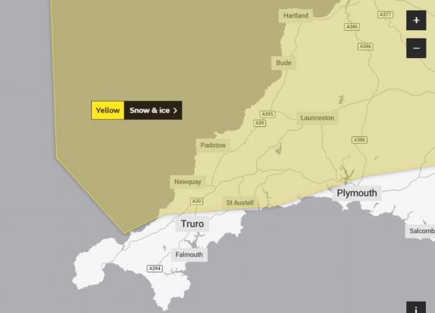 Falmouth Packet: The yellow warning takes in part of north and east Cornwall. Picture: Met Office