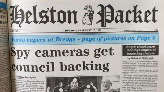 The front page of the Helston Packet on January 22, 1996