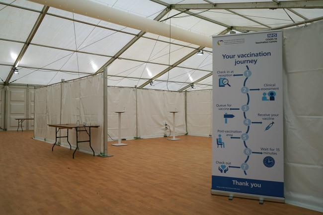 The vaccination centre entrance at the first mass site to open in Cornwall, at Stithians Showground