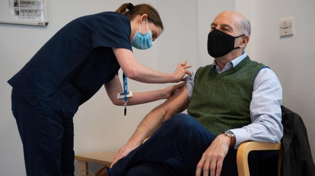Former Masterchef presenter Lloyd Grossman, 70, gets his jab on Saturday  Picture: Jacob King/PA