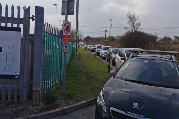 A long queue at one of Cornwall's waste and recycling centres on Monday   Picture: Cornwall Council