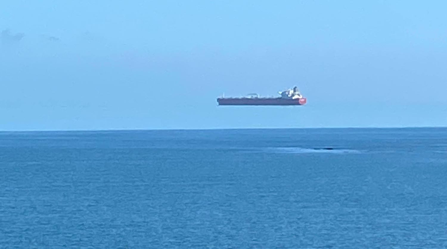 David Morris took the photo of an apparent floating ship from Gillan on the Lizard Peninsula Picture: David Morris/APEX