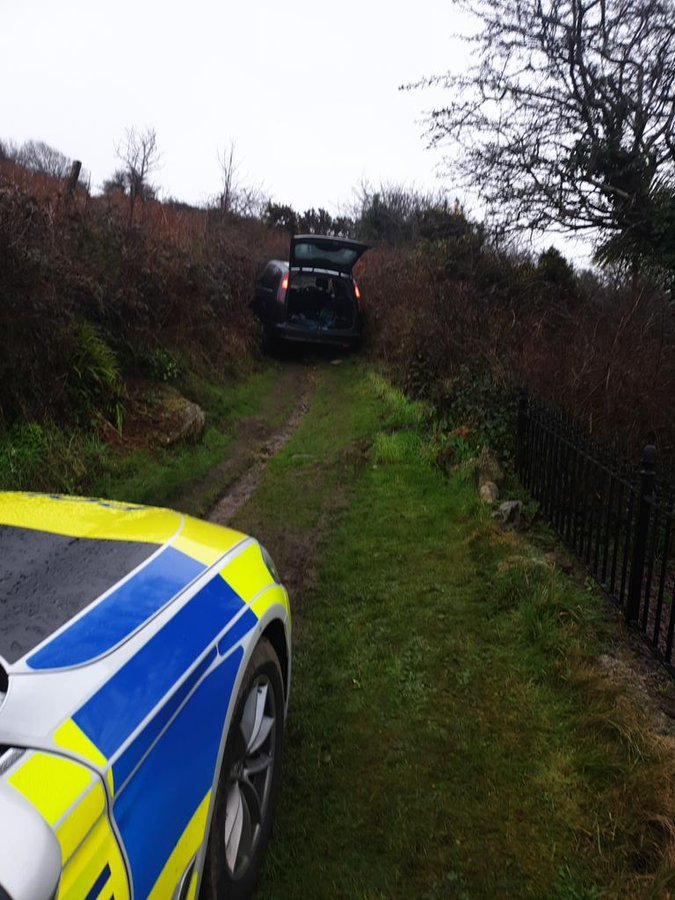 The car wedged between two hedges mid police pursuit Picture: Devon and Cornwall Police Roads Policing Team