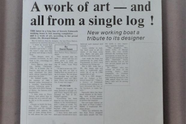 An article that appeared in the Camborne Packet on 14.8.1985 regarding a Falmouth Working Boat built by Vic Angove