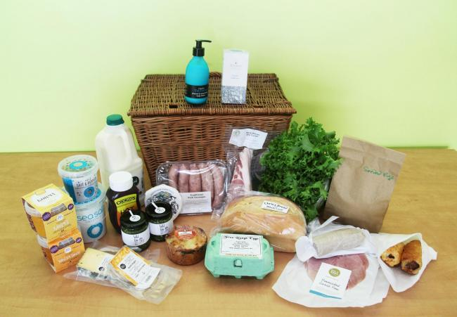 The hamper of goodies that can be won from Helston Climate Action Group