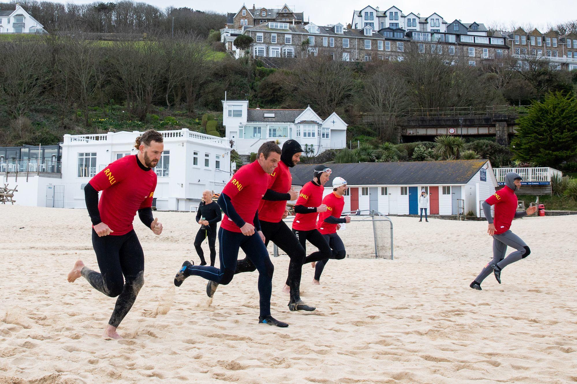RNLI lifeguard pre-season training. Picture: Will Dax