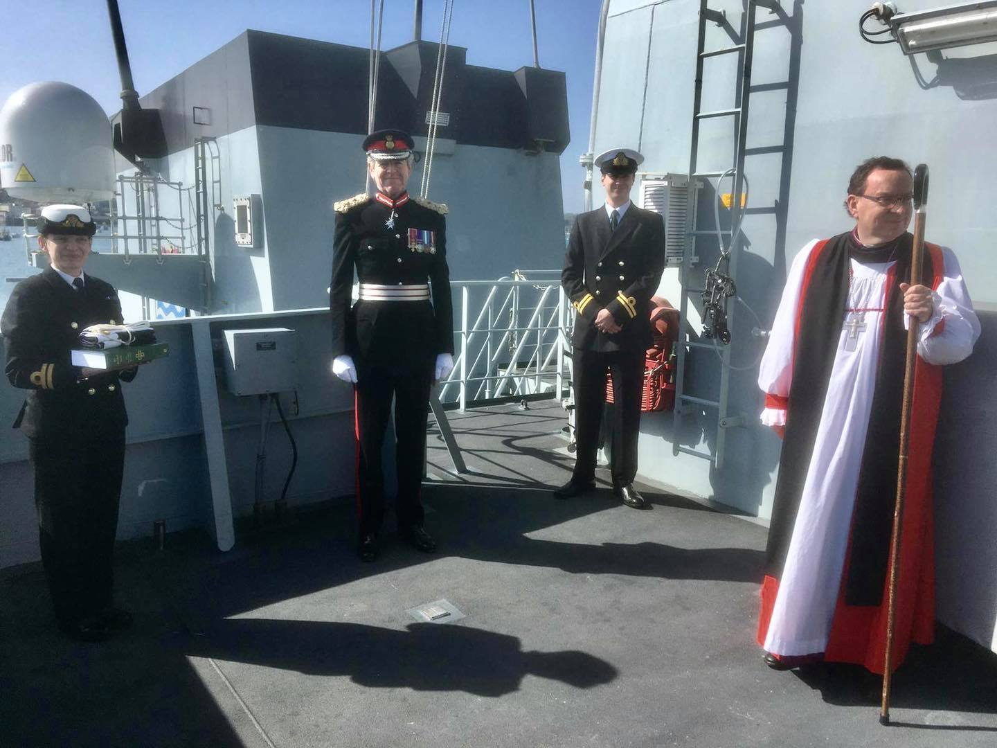 The Bishop of Truro Rt Rev Philip Mounstephen boarded the ship along with Lord Lieutenant of Cornwall, Colonel Edward Bolitho. Picture: HM Naval Base Devonport