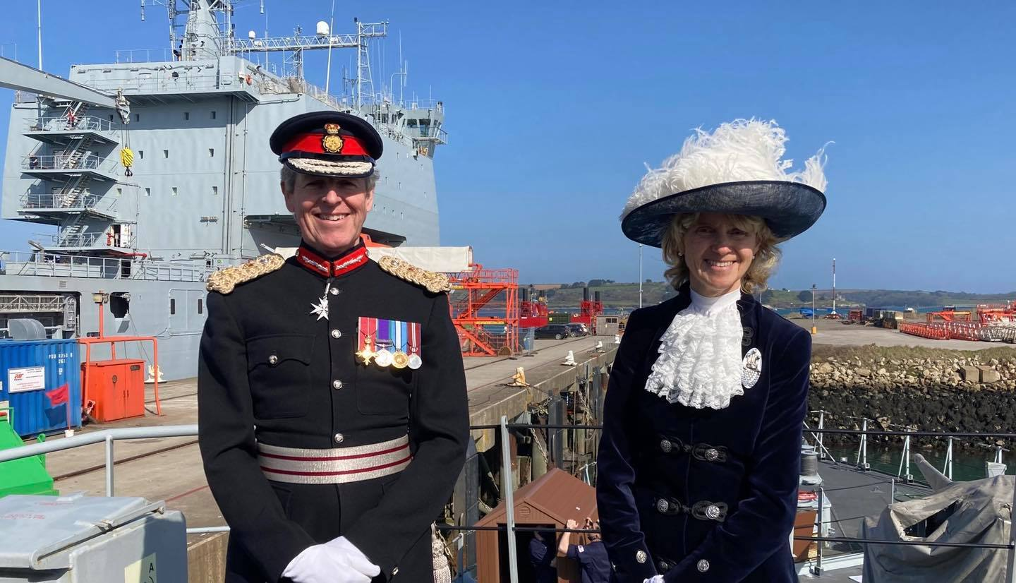 Lord Lieutenant of Cornwall, Colonel Edward Bolitho and the High Sheriff of Cornwall Kate Holborrow. Picture: HM Naval Base Devonport