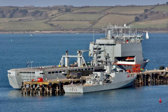 Falmouth's affiliated ship RFA Mounts Bay and Truro's ship HMS Tamar alongside the docks  Picture: David Barnicoat