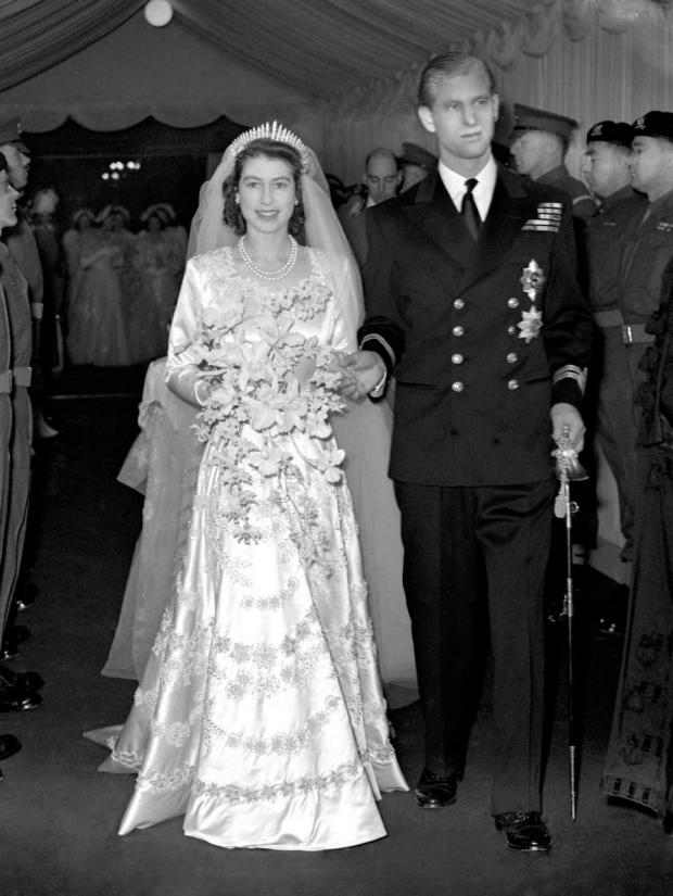 Falmouth Packet: Princess Elizabeth and the Duke of Edinburgh leaving Westminster Abbey after their wedding ceremony (PA)