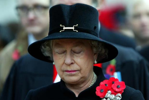 Falmouth Packet: The Queen sheds a tear during the Field of Remembrance Service at Westminster Abbey in 2002 (PA)