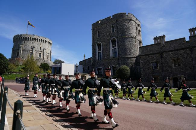 Members of the military arrive for the funeral of the Duke of Edinburgh