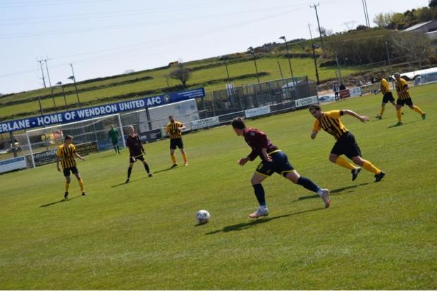 Falmouth Packet: The match at Underlane was played under bright sunshine and the surface looked in great condition. Picture: Tyler Bowden
