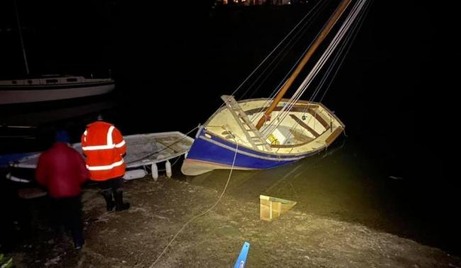 The Bastian family were at Penpol at 3am to try and right the working boat at high tide. Picture: Erin Bastian