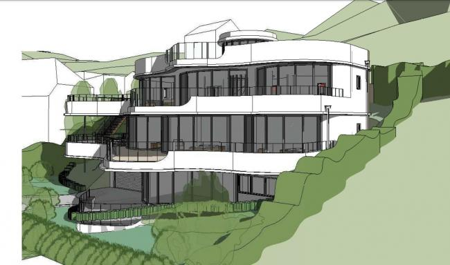 The proposed design of a new home for Mawgan Porth which was described as looking like \