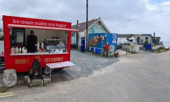 Garen Sharland in his Double Decadence waffle and ice cream trailer at Praa Sands