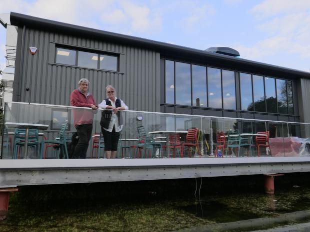 Falmouth Packet: Keith & Sara Southwell from Lappa Valley in front of The Engine Shed