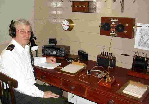 The recreated wireless room of the Titanic at the Lizard Wireless Centre at Bass Point