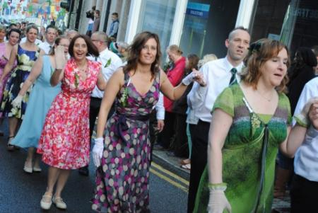 Dancers take to the streets for the first dance of Helston's Flora Day