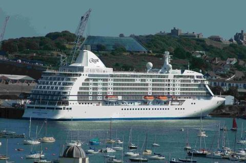 The 42,000-ton cruise ship Seven Seas Voyager