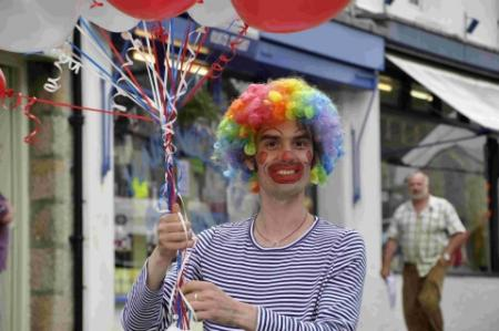 Jonathan Birkett dressed as a clown for the Helston Jubilee celebrations