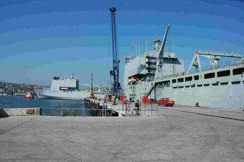 Bay Class ships pictured at Falmouth Docks. Picture: DAVID BARNICOAT