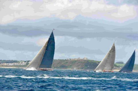 Ranger leads Velsheda and Rainbow in a J Class race off Falmouth. Picture: DAVID BARNICOAT