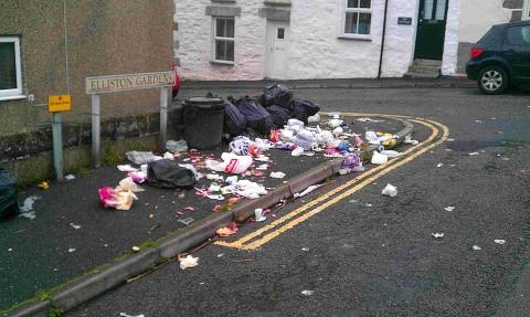 Porthleven has a longstanding problem with uncovered bin bags being ripped open