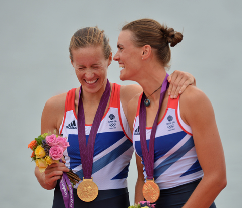 Penzance's Helen Glover (left) with Heather Stanning at London 2012. The duo will be reunited in France next weekend