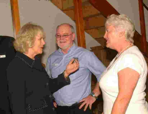 Jane, wife of ShelterBox founder Tom Henderson meeting the Duchess of Cornwall in 2007