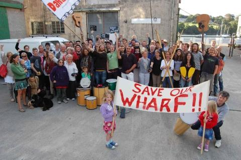 Protesters at Falmouth Wharves last summer