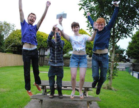 Helston Community College students celebrate their grades