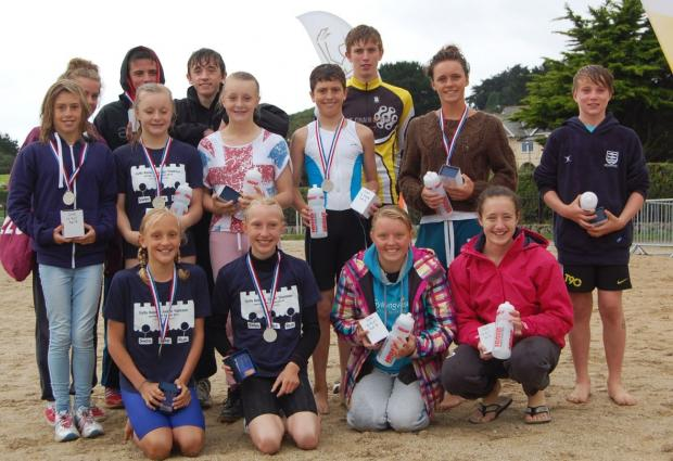 The junior winners from Gylly Surf Life Saving and Triathlon Club