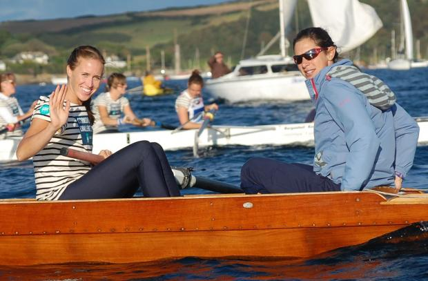 Olympic Gold medalist Helen Glover, from Penzance waives to the crowds
