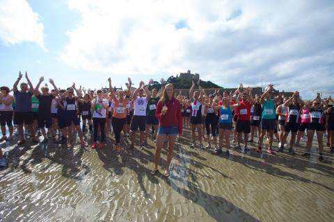 The beach runs were set off by Olympic gold medal-winning rower Helen Glover