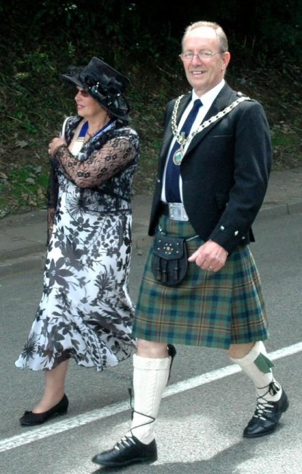 Walter Sanger and his wife Christine in a parade as chairman of Kerrier District Council in 2009.