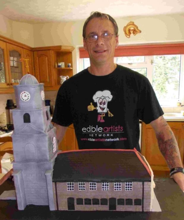 Dave and his Penryn clock tower cake