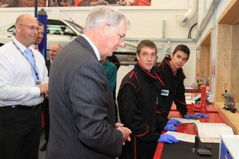The Duke of Gloucester tours the automative engineering in the new Seaton Building
