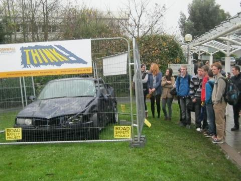Crashed car highlights road dangers to Truro students
